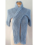 Giezen Hand knit sweater Woman Cardigan Cable blue