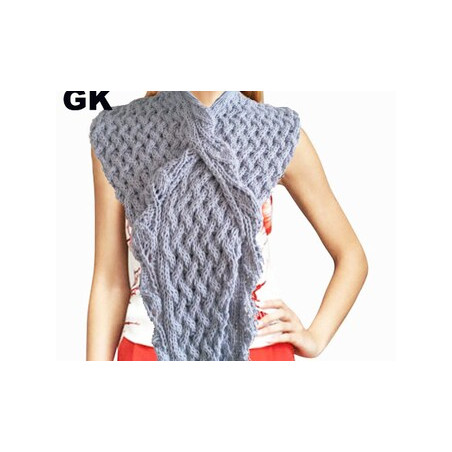 GIEZEN Sweater Cable Crossed Honeycomb Hand-knit